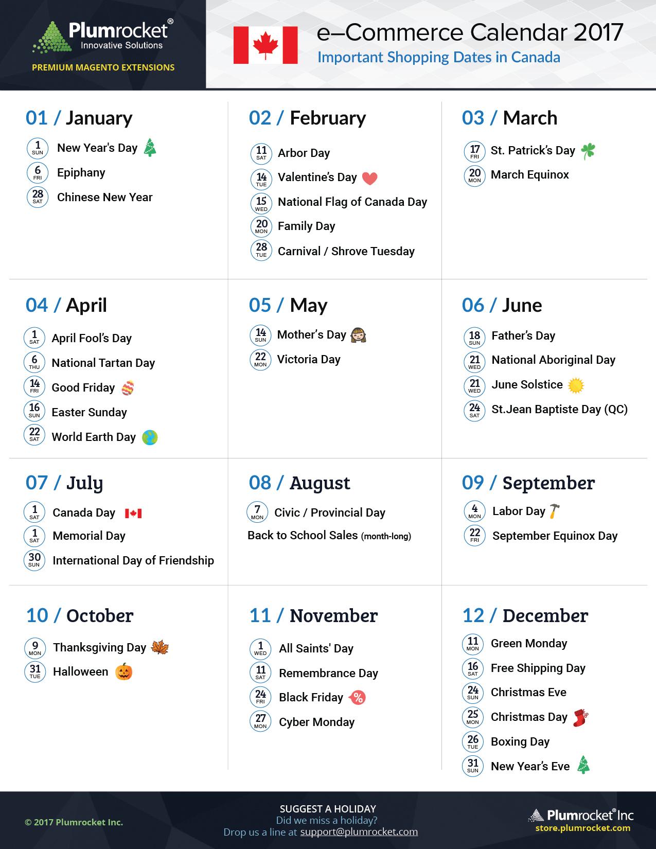 Canada Marketing Calendar 2017