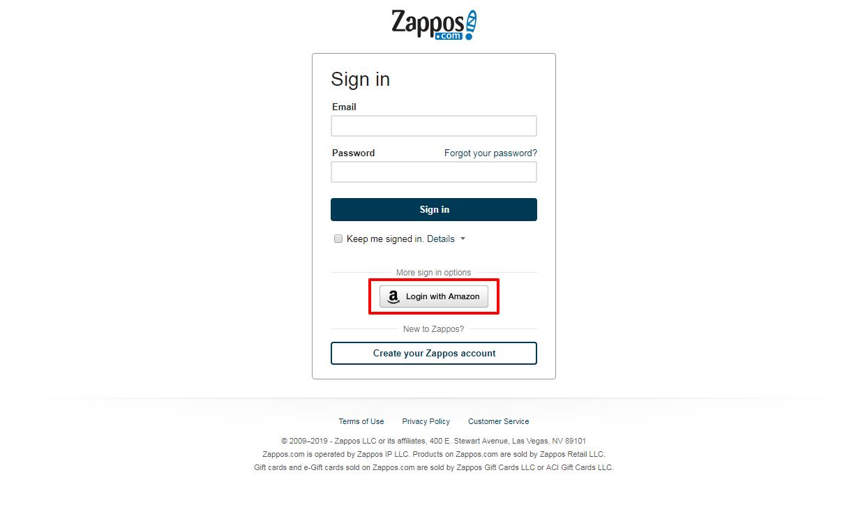 social login on zappos