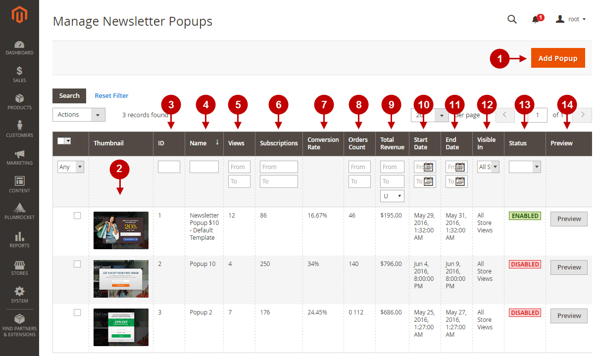 magento newsletter popup configurations