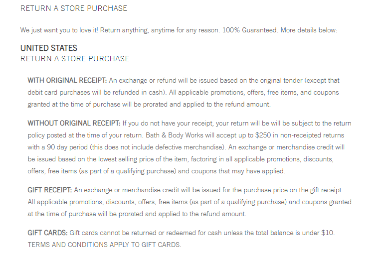 bath and body works - store credit