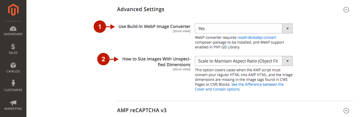 magento 2 amp extension configuration advanced settings.png