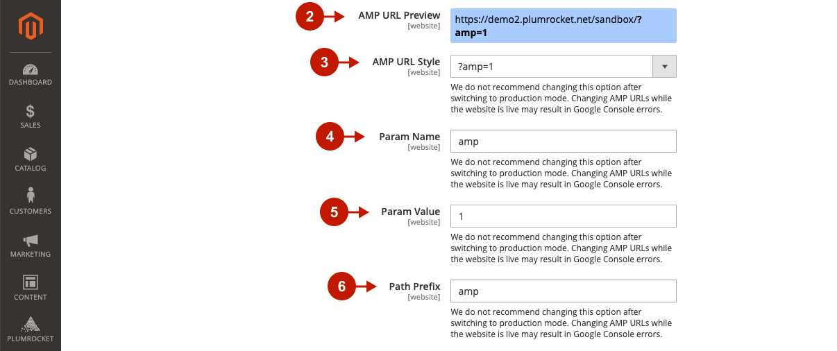 Magento 2 AMP Extension Main Settings 2