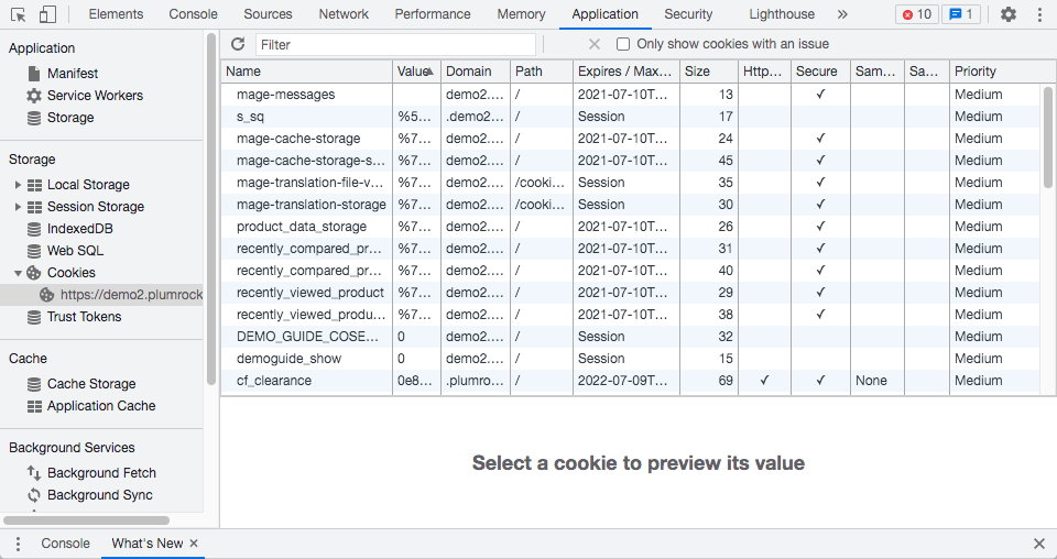 dentifying cookies set by the website using the Inspect option