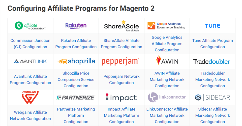 Magento 2 Affiliate Programs extension network configuration guide