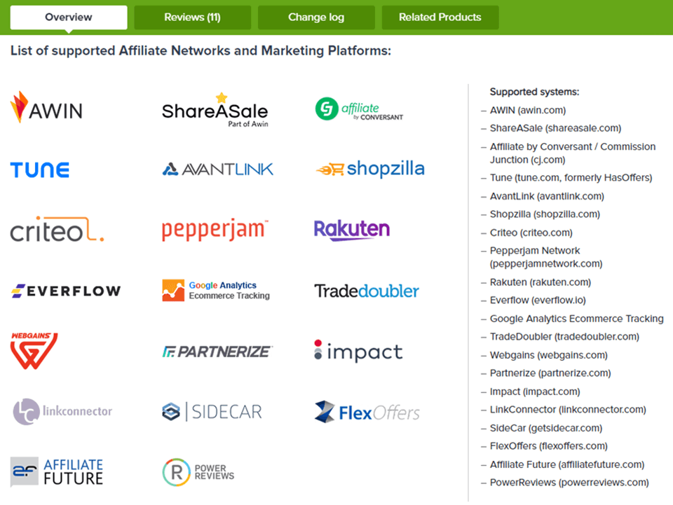 List of supported Affiliate Networks in Magento 2 Affiliate Network Extension