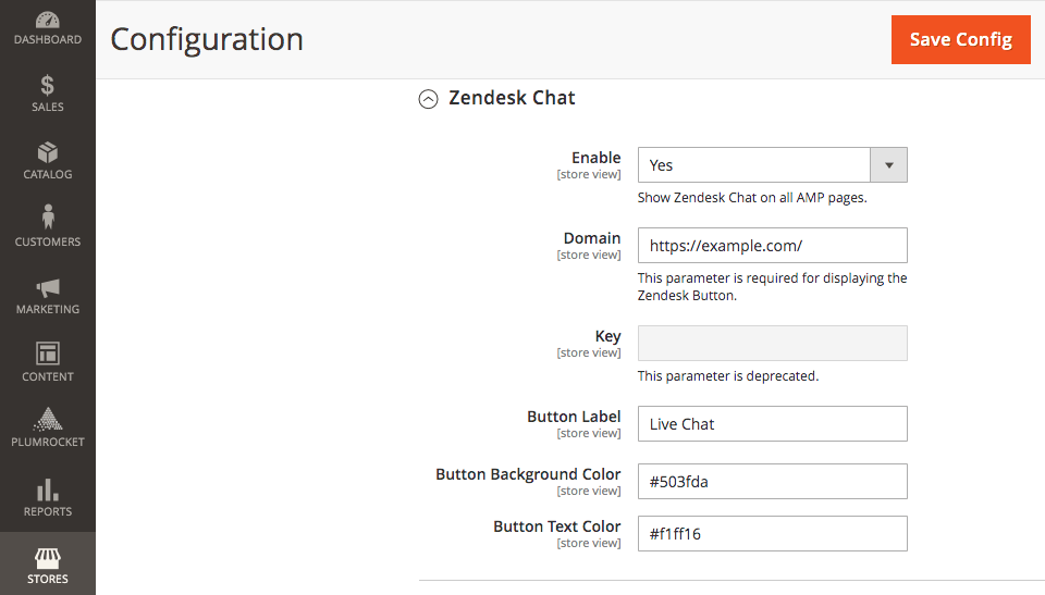 magento 2 amp extension zendesk chat admin panel