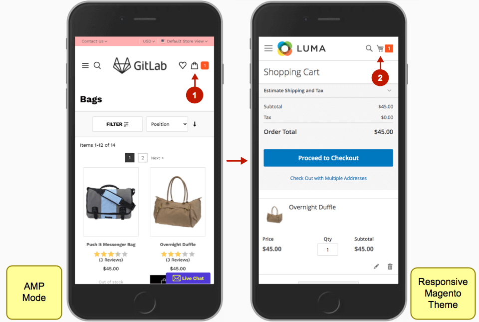 Magento AMP extension shopping cart