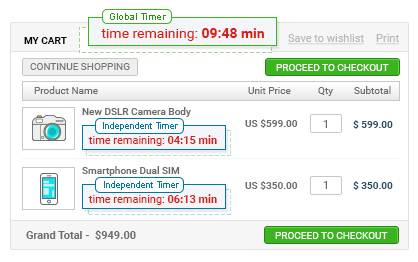 Global or Independent Cart Reservation Timers are Available