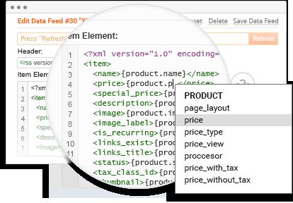Visual Data Feed Template Editor